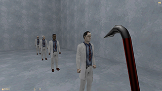 In-game screenshots of the four different Half-Life scientists